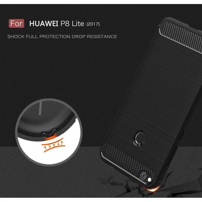 Husa  Huawei P9 lite (2017) / P8 Lite (2017) Tpu Carbon Fibre Brushed - rosu 6