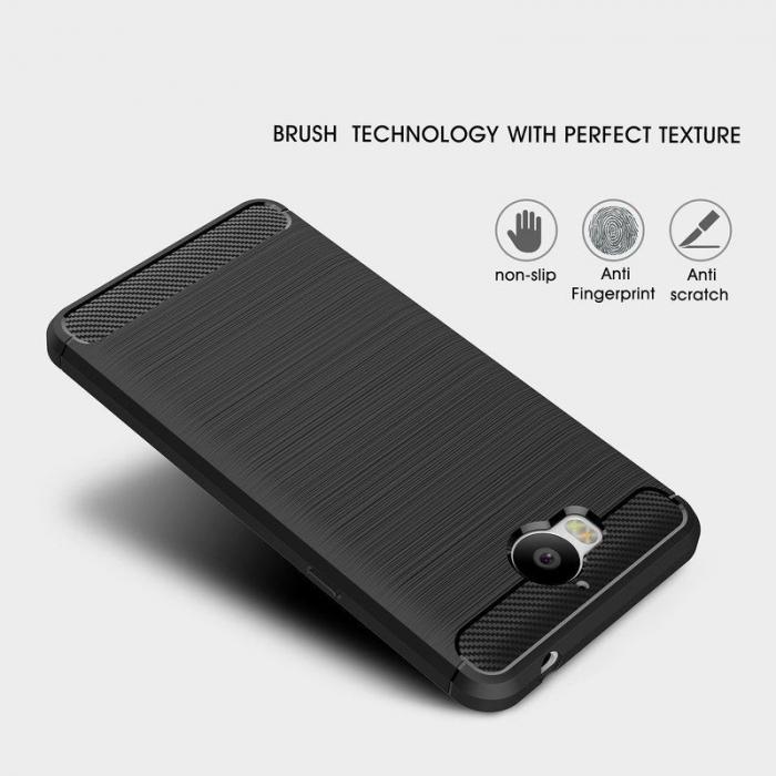 Husa  Huawei Y6 2017 Tpu Carbon Fibre Brushed - rosu 6