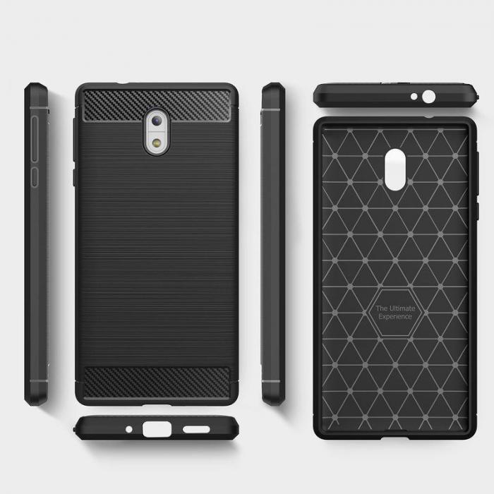 Husa   Nokia 3 Tpu Carbon Fibre Brushed - negru 2