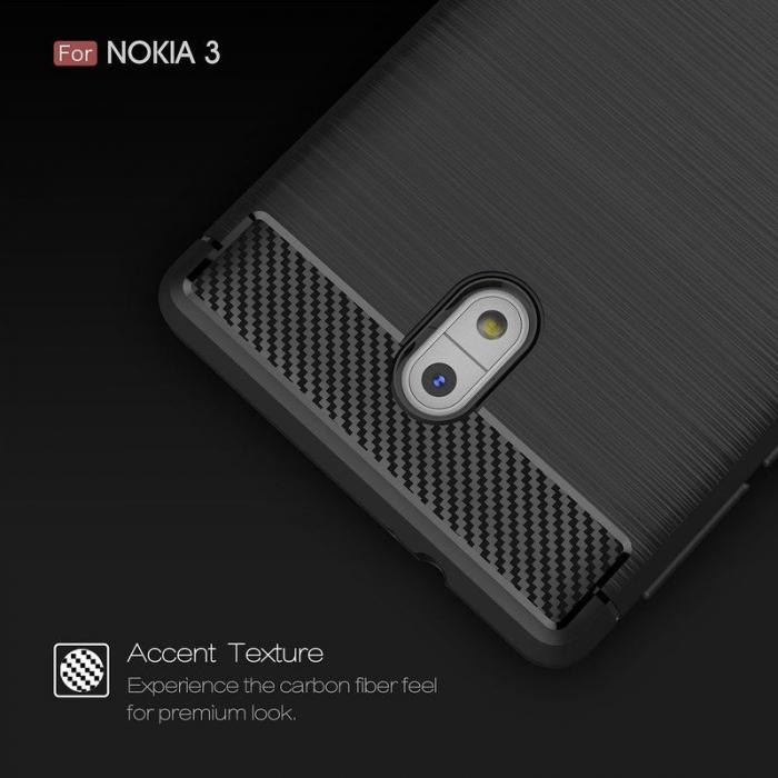 Husa   Nokia 3 Tpu Carbon Fibre Brushed - negru 6