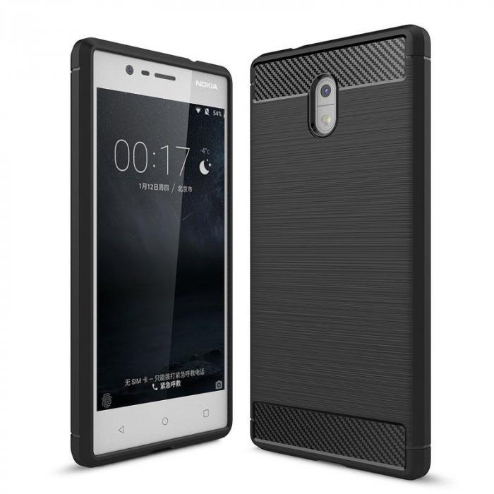 Husa   Nokia 3 Tpu Carbon Fibre Brushed - negru 0
