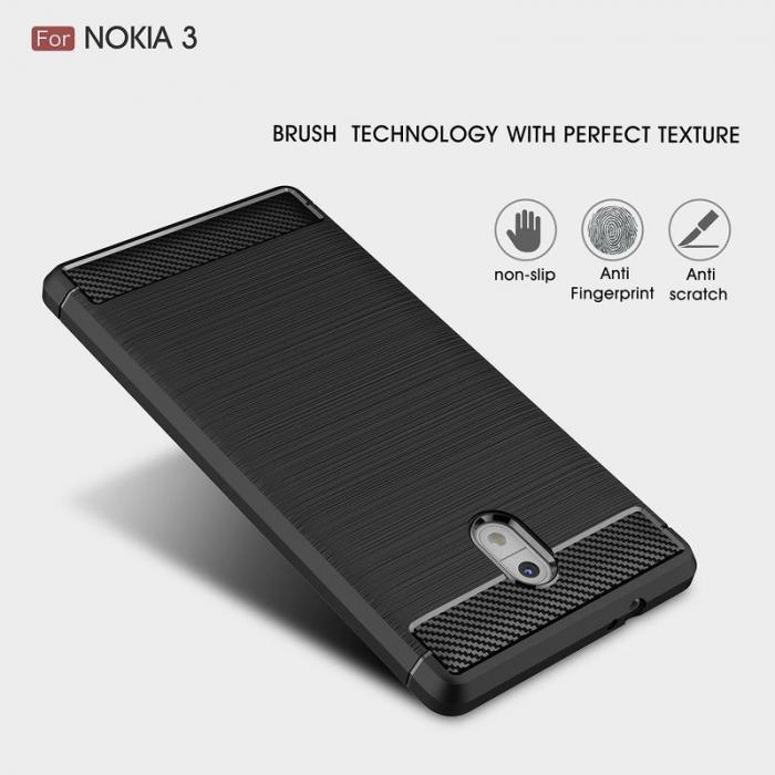 Husa   Nokia 3 Tpu Carbon Fibre Brushed - negru 4