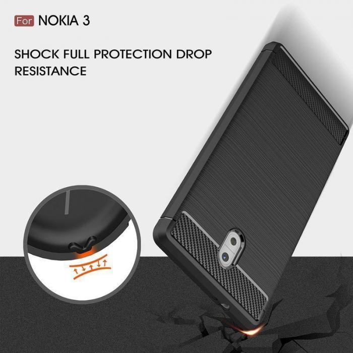 Husa   Nokia 3 Tpu Carbon Fibre Brushed - negru 5