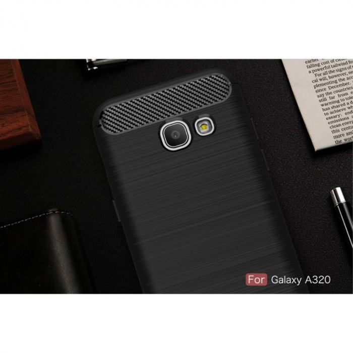 Husa Tpu Carbon Fibre Brushed Samsung Galaxy A3 2017 (A320) - negru 1