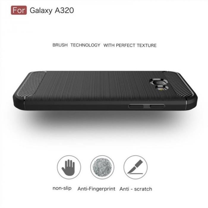 Husa Tpu Carbon Fibre Brushed Samsung Galaxy A3 2017 (A320) - rosu 2