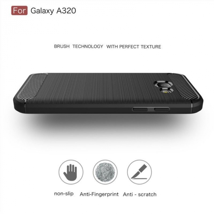 Husa Tpu Carbon Fibre Brushed Samsung Galaxy A3 2017 (A320) - negru 4