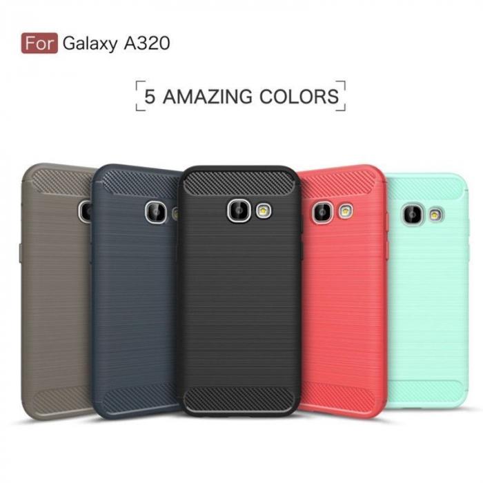 Husa Tpu Carbon Fibre Brushed Samsung Galaxy A3 2017 (A320) - rosu 10