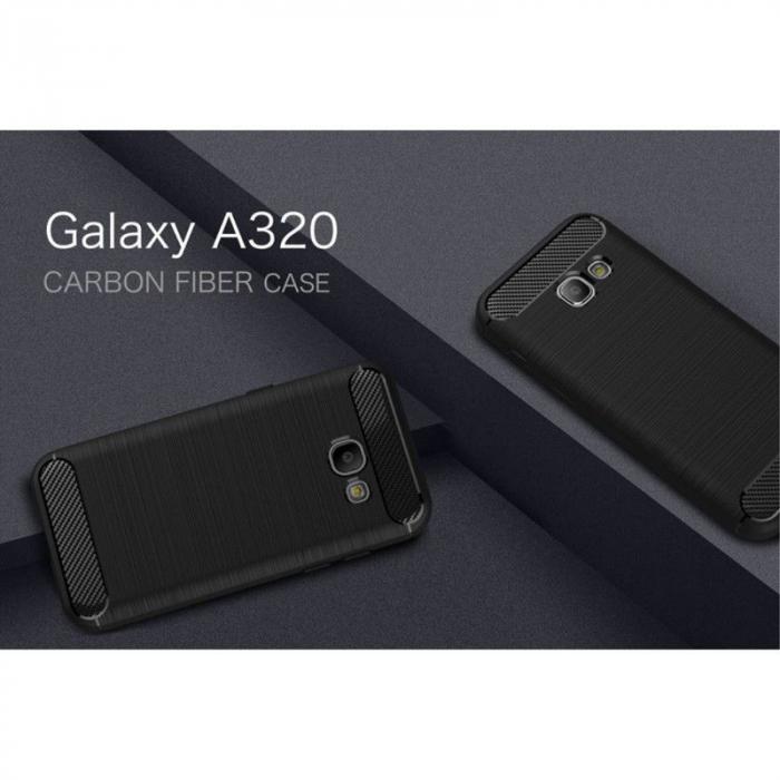 Husa Tpu Carbon Fibre Brushed Samsung Galaxy A3 2017 (A320) - negru 2