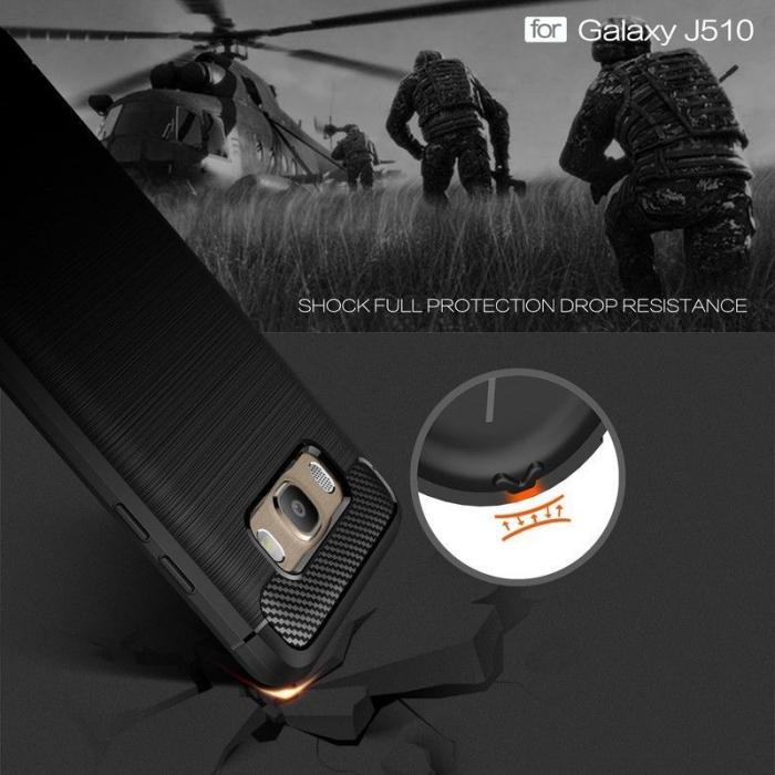 Husa  Samsung Galaxy J5 2016 Carbon Fibre Brushed Tpu - rosu 3