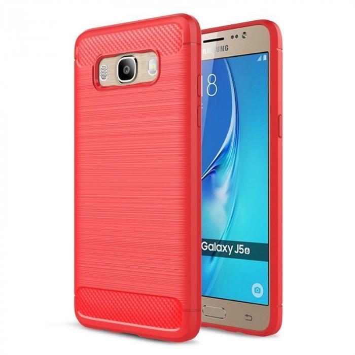 Husa  Samsung Galaxy J5 2016 Carbon Fibre Brushed Tpu - rosu 0