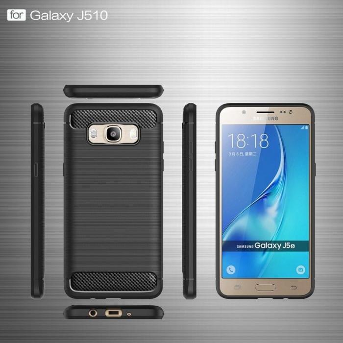 Husa  Samsung Galaxy J5 2016 Carbon Fibre Brushed Tpu - rosu 5