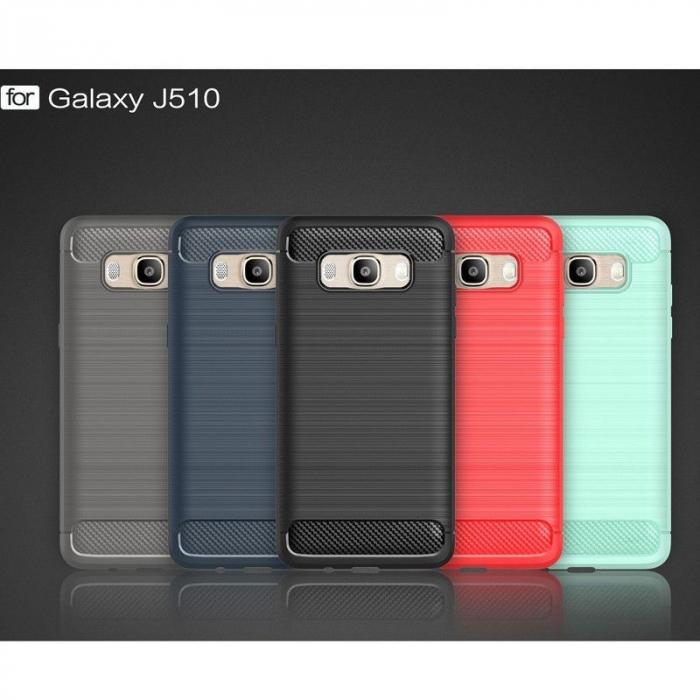 Husa  Samsung Galaxy J5 2016 Carbon Fibre Brushed Tpu - rosu 8