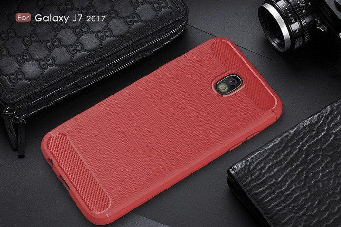 Husa  Samsung Galaxy J7 2017 Tpu Carbon Fibre Brushed - rosu 7