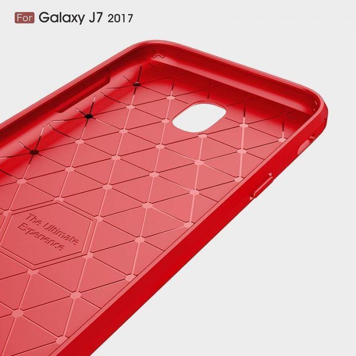 Husa  Samsung Galaxy J7 2017 Tpu Carbon Fibre Brushed - rosu 2