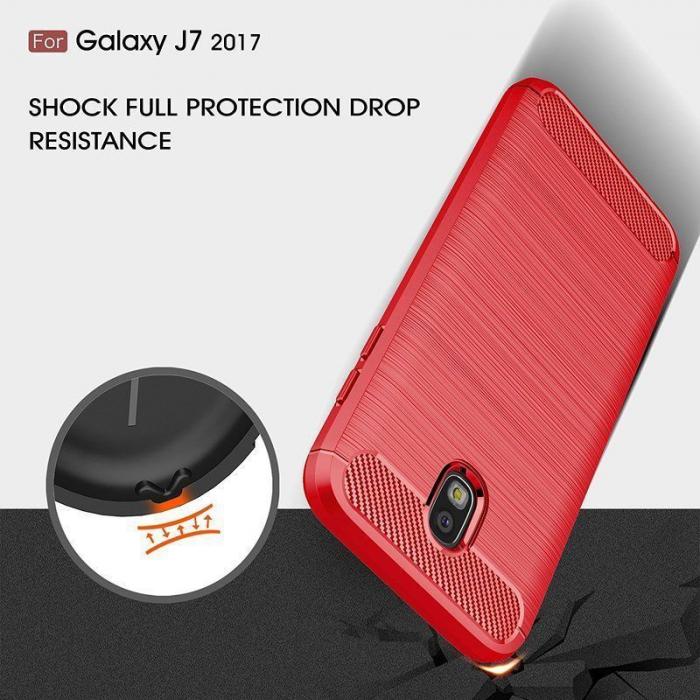 Husa  Samsung Galaxy J7 2017 Tpu Carbon Fibre Brushed - rosu 5