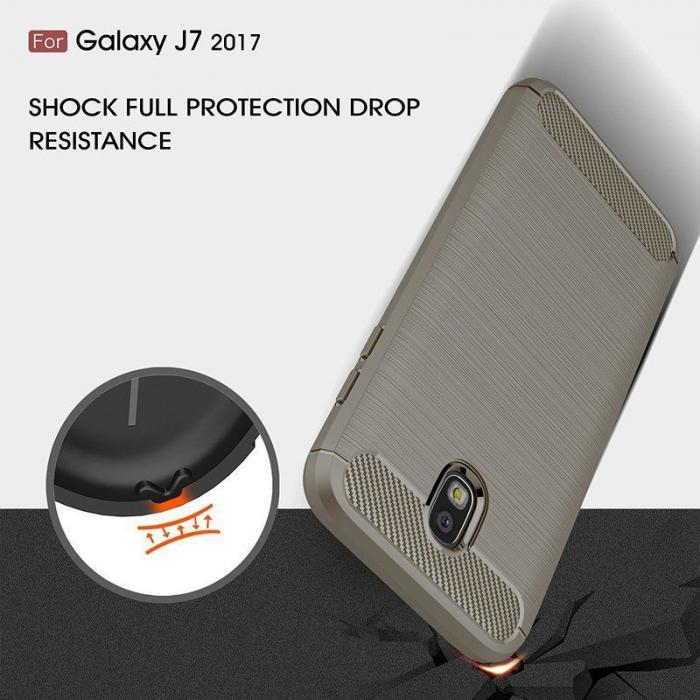 Husa  Samsung Galaxy J7 2017 Tpu Carbon Fibre Brushed - gri 4