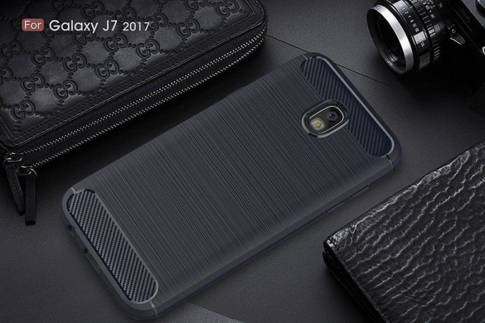 Husa  Samsung Galaxy J7 2017 Tpu Carbon Fibre Brushed - albastru 6