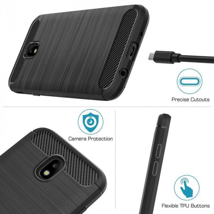 Husa  Samsung Galaxy J7 2017 Tpu Carbon Fibre Brushed - gri 7