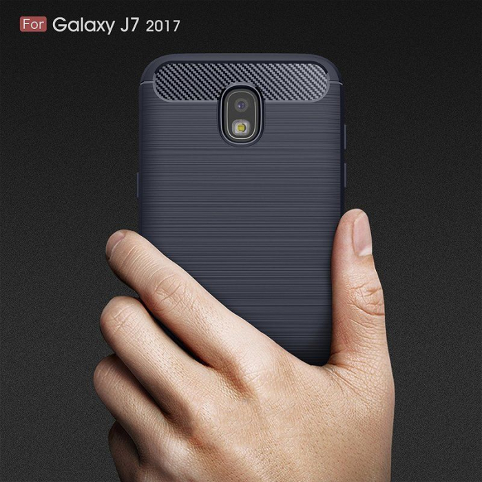 Husa  Samsung Galaxy J7 2017 Tpu Carbon Fibre Brushed - albastru 9