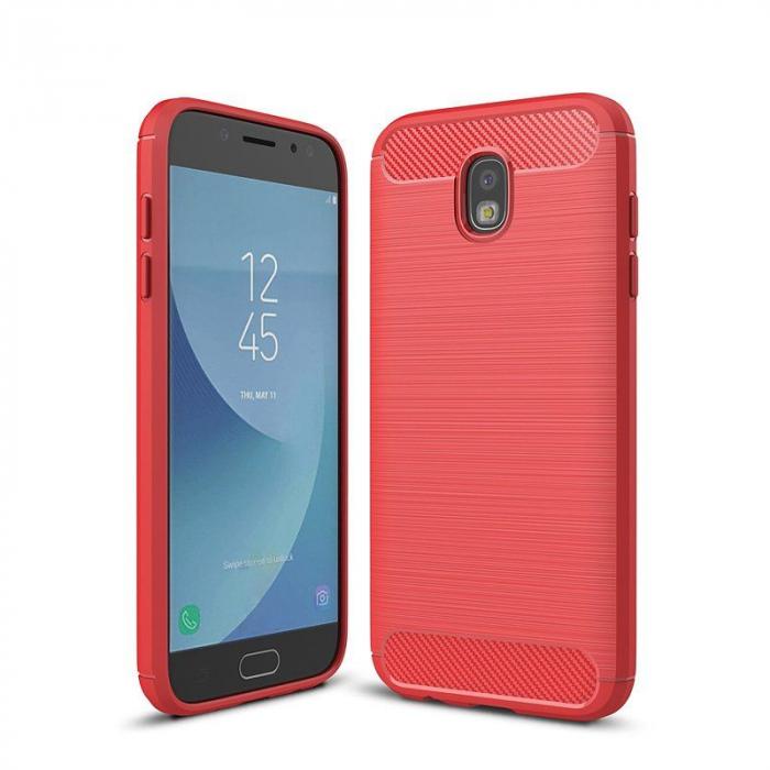 Husa  Samsung Galaxy J7 2017 Tpu Carbon Fibre Brushed - rosu 0
