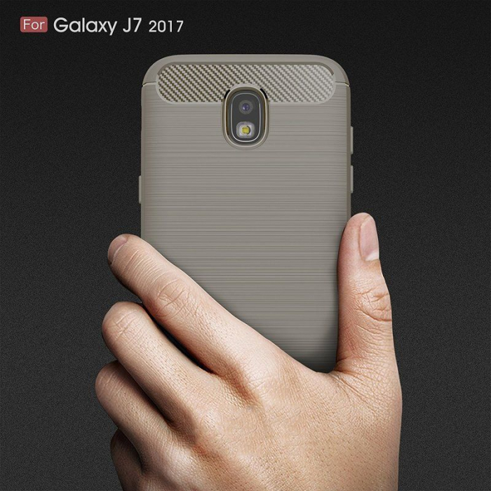 Husa  Samsung Galaxy J7 2017 Tpu Carbon Fibre Brushed - gri 6