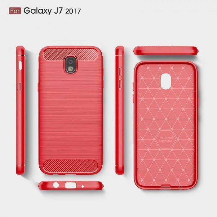 Husa  Samsung Galaxy J7 2017 Tpu Carbon Fibre Brushed - rosu 6