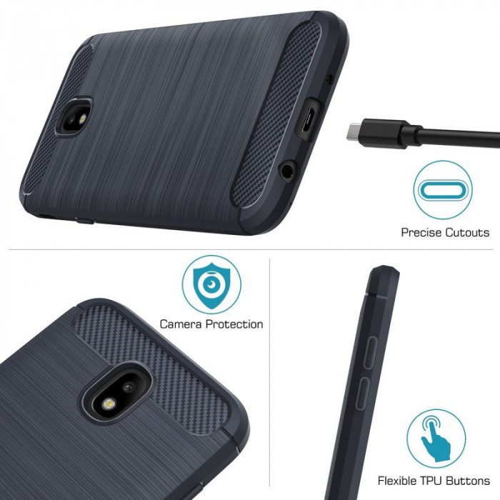Husa  Samsung Galaxy J7 2017 Tpu Carbon Fibre Brushed - albastru 4