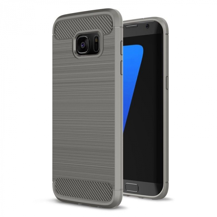 Husa Tpu Carbon Fibre Brushed Samsung Galaxy S7 Edge- gri 0
