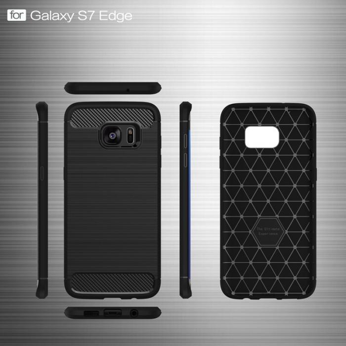 Husa Tpu Carbon Fibre Brushed Samsung Galaxy S7 Edge- gri 5