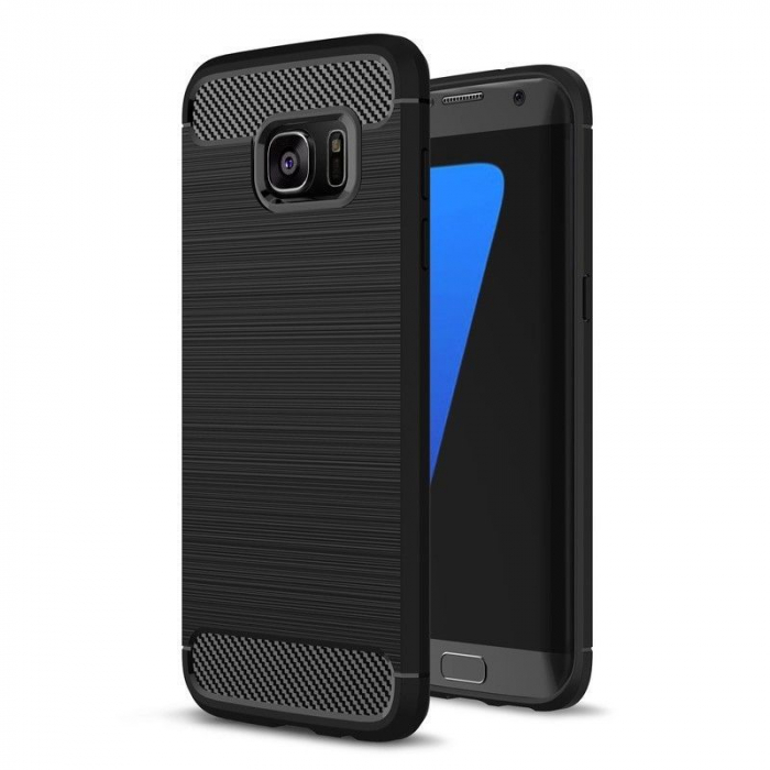 Husa Tpu Carbon Fibre Brushed Samsung Galaxy S7 Edge - negru 0