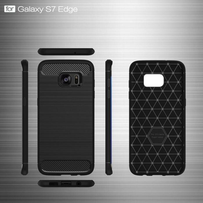 Husa Tpu Carbon Fibre Brushed Samsung Galaxy S7 Edge - negru 6