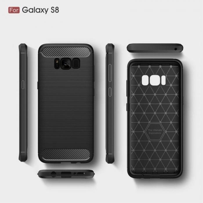 Husa Tpu Carbon Fibre Brushed Samsung Galaxy S8 - gri 6