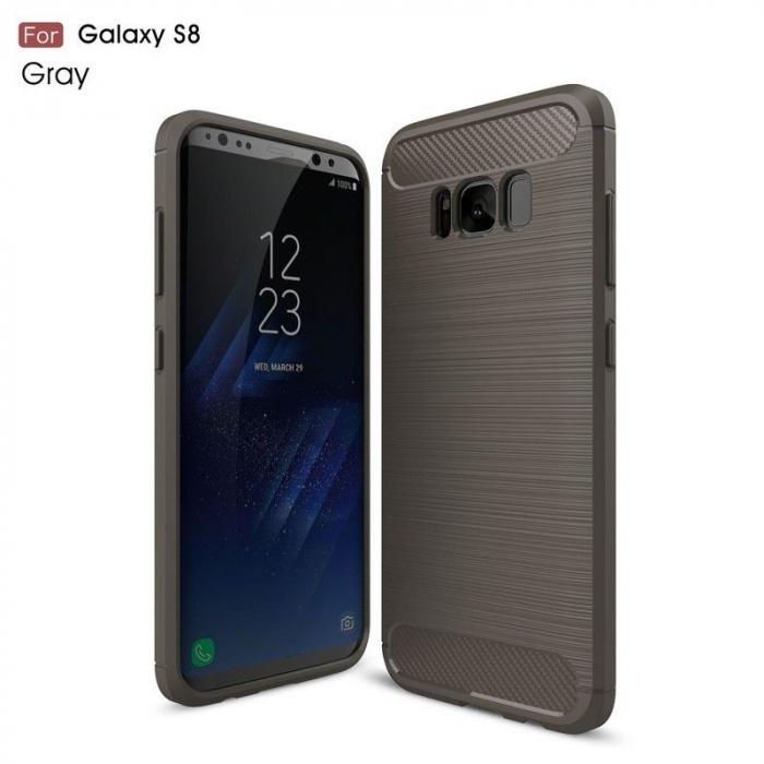 Husa Tpu Carbon Fibre Brushed Samsung Galaxy S8 - gri 0