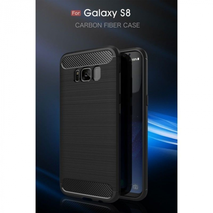 Husa Tpu Carbon Fibre Brushed Samsung Galaxy S8 - negru 2