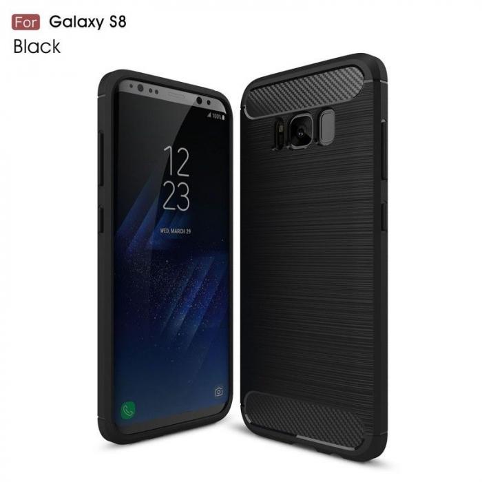 Husa Tpu Carbon Fibre Brushed Samsung Galaxy S8 - negru 0