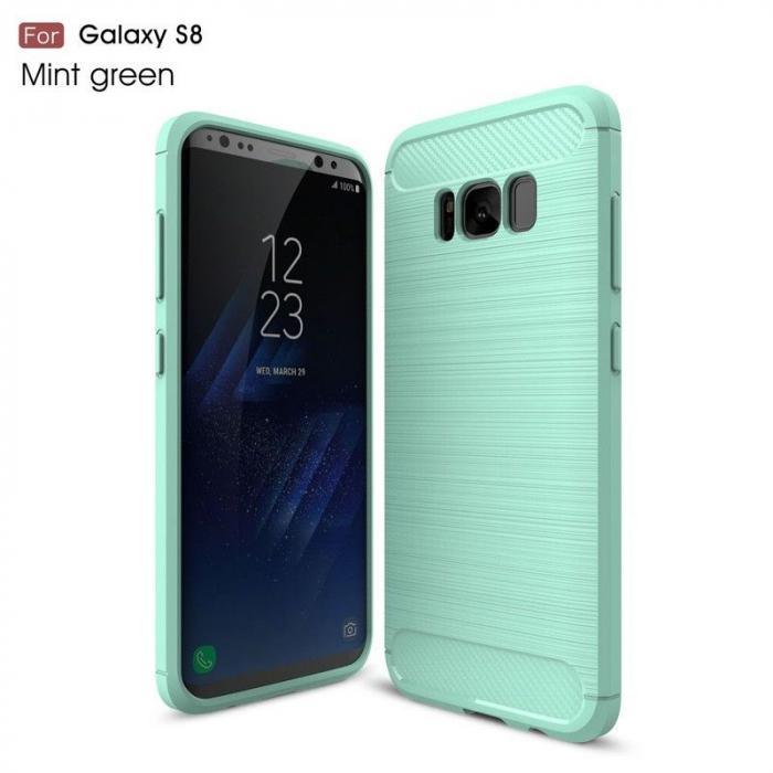 Husa Tpu Carbon Fibre Brushed Samsung Galaxy S8 - turcoaz [0]