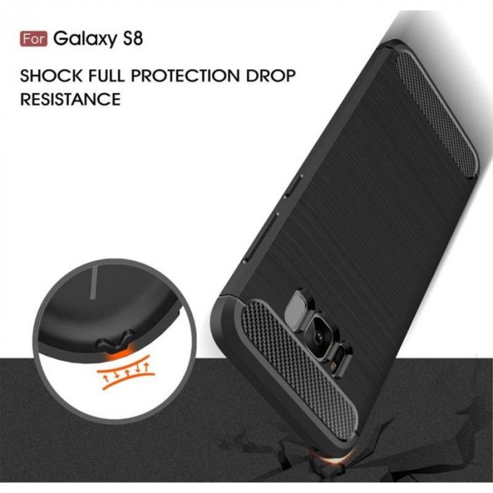 Husa Tpu Carbon Fibre Brushed Samsung Galaxy S8 - turcoaz [5]