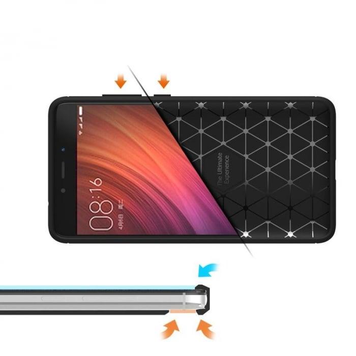 Husa Tpu Carbon Fibre Brushed Xiaomi Redmi Note 4 - albastru 6