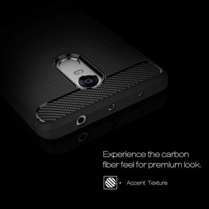 Husa Tpu Carbon Fibre Brushed Xiaomi Redmi Note 4 - albastru 3