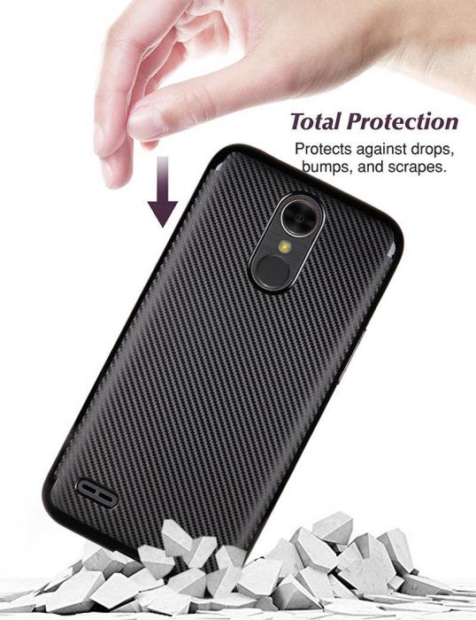 Husa LG K10 (2017) Tpu Carbon - argintiu 4