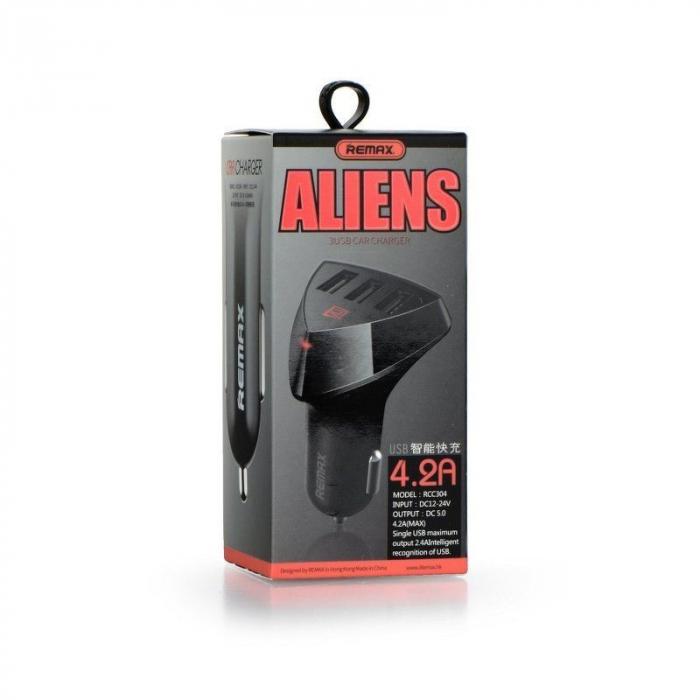 Incarcator auto REMAX Aliens 4.2A x 3 usb, negru 7