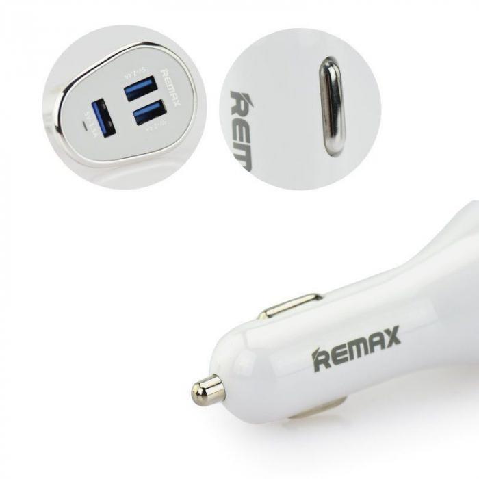 Incarcator auto REMAX Fast Charging 6.3A x 3 usb, alb 2