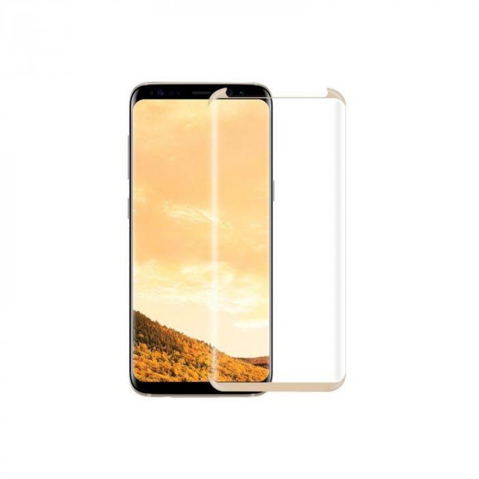 Sticla Securizata Samsung Galaxy S8 Full Screen Case Friendly - margini gold 0
