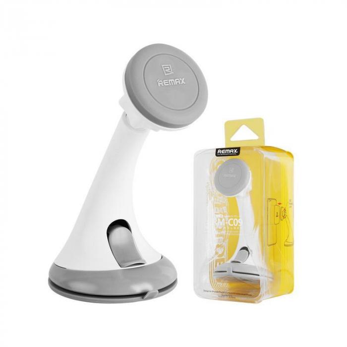 Suport auto magnetic Remax pentru telefoane, alb-gri 5