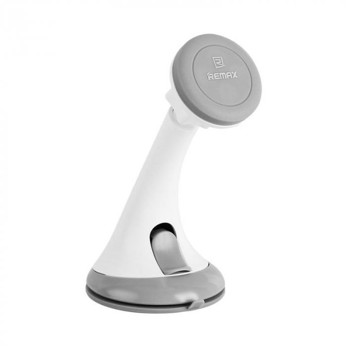 Suport auto magnetic Remax pentru telefoane, alb-gri 1