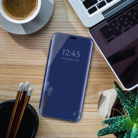 Husa Samsung Galaxy A21S – Flip Clear View – Albastru [2]