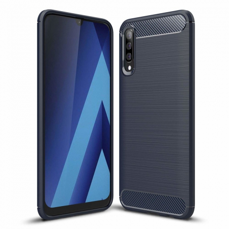 Husa Samsung Galaxy A50 - TPU Carbon Fibre Brushed - albastru [0]