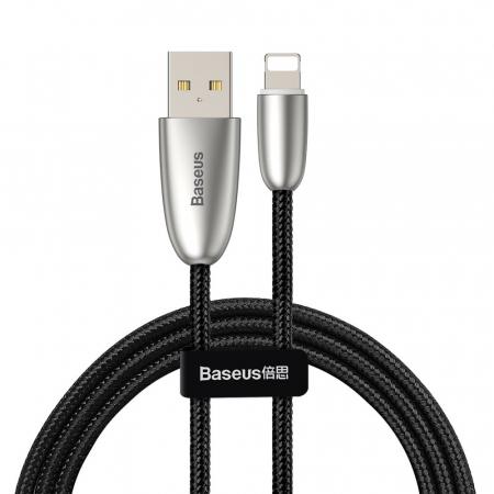 Cablu de date Lightning Baseus Torch-negru cu gri 2.4A [0]