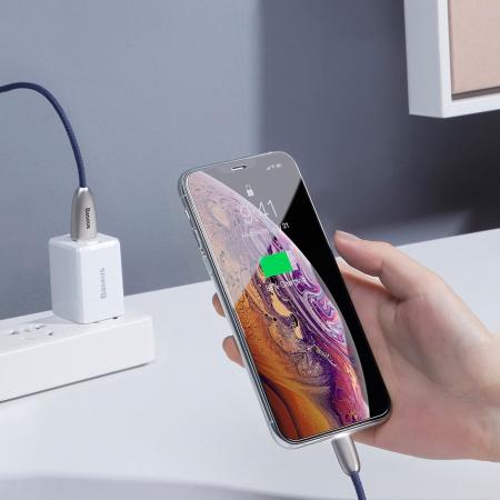 Cablu de date Lightning Baseus Torch-negru cu gri 2.4A [7]