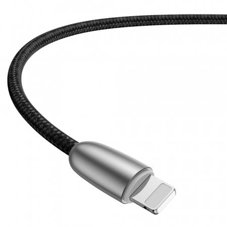 Cablu de date Lightning Baseus Torch-negru cu gri 2.4A [2]